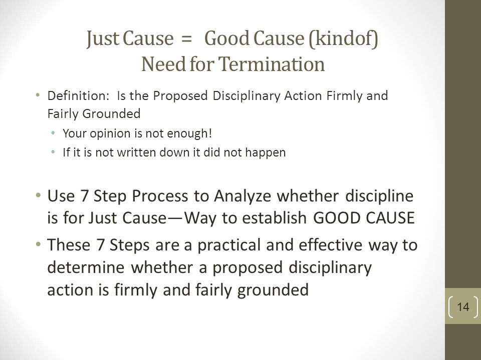 how to explain a not for cause termination