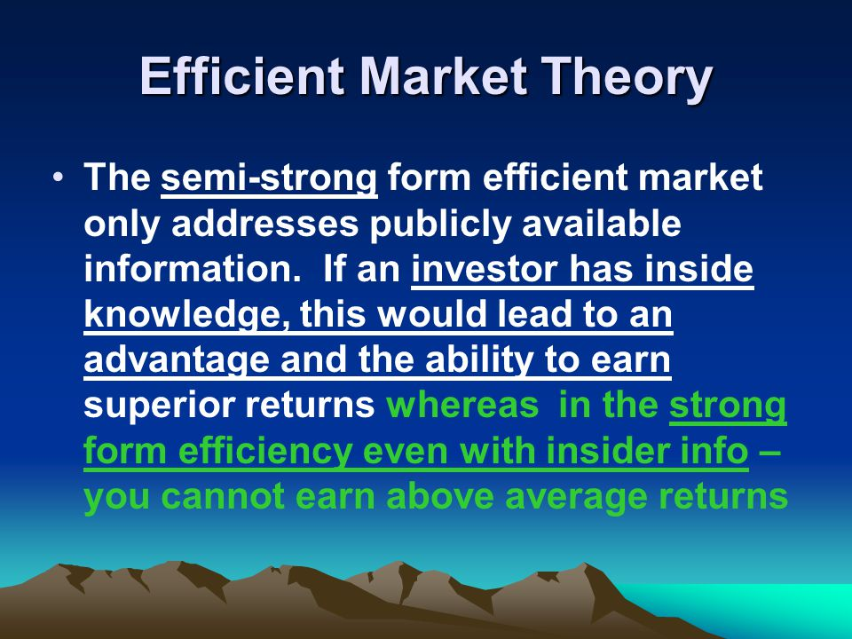 "efficient market theories More than a theory, efficient-markets was the banner for bringing scientific method to the study of financial markets rather than ask, ""what are warren buffett's three secrets of success"" or interview the latest soothsayer, researchers started to collect clean data, and examine theories systematically and objectively gene was the leader of this."