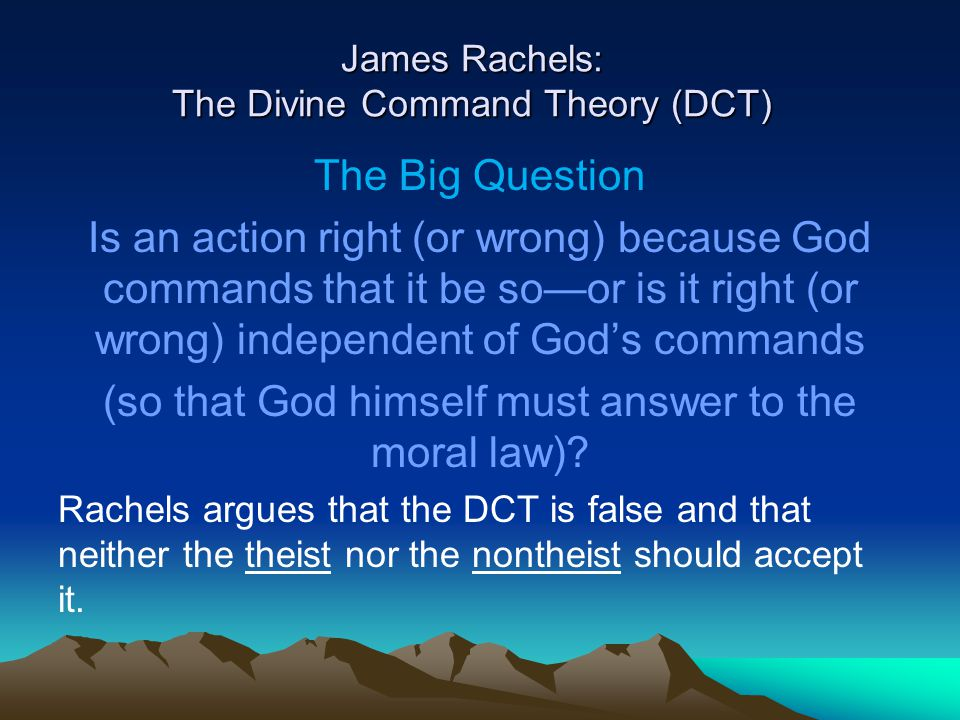 James rachels does morality depend on religion