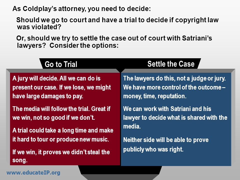 Go to Trial Settle the Case