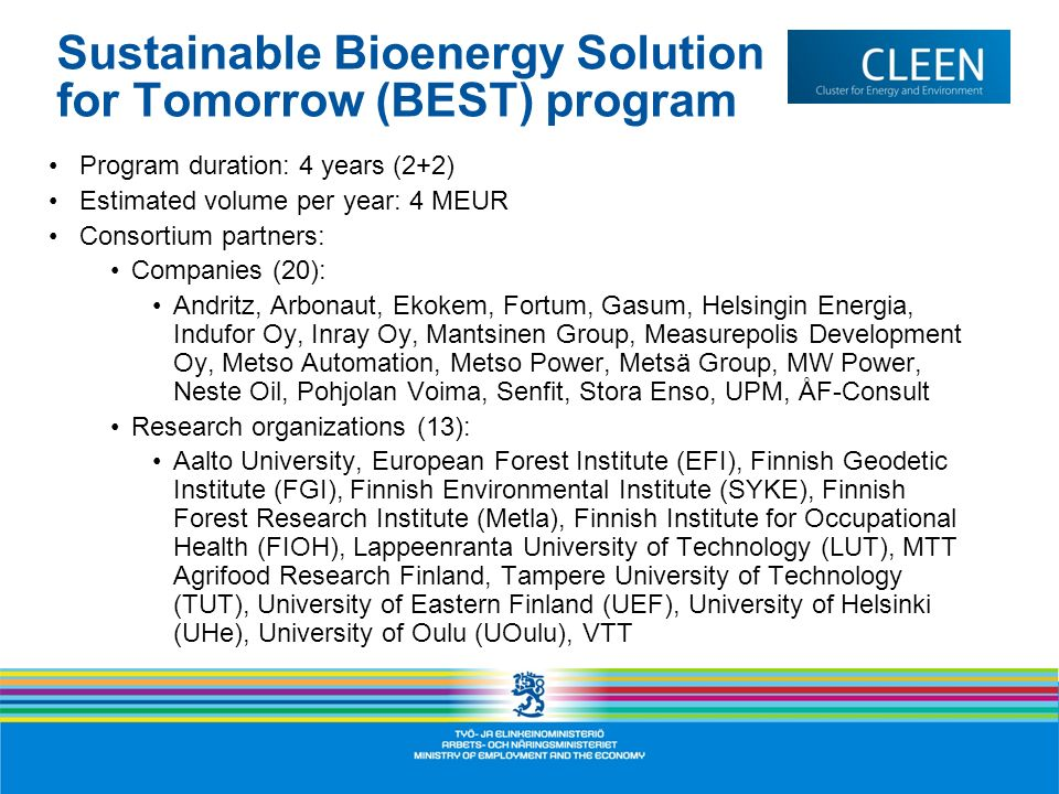 Sustainable Bioenergy Solution for Tomorrow (BEST) program
