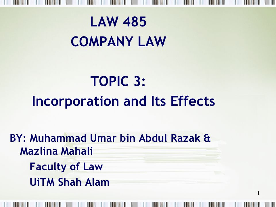 Incorporation and Its Effects
