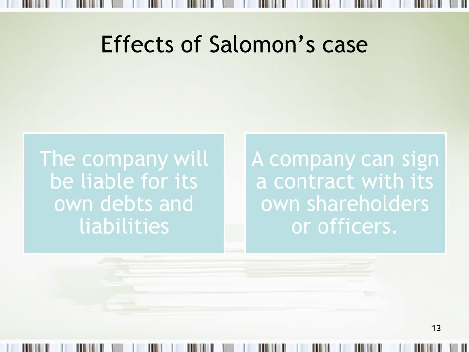 Effects of Salomon's case