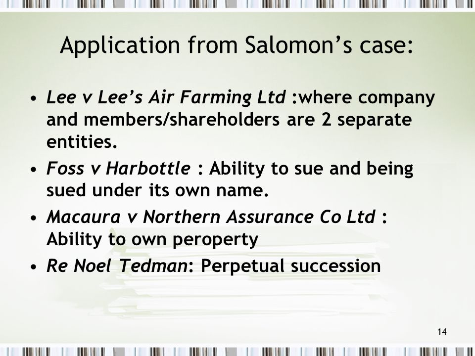 Application from Salomon's case: