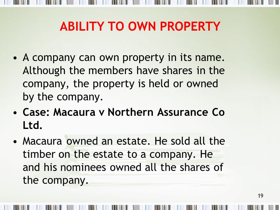 ABILITY TO OWN PROPERTY
