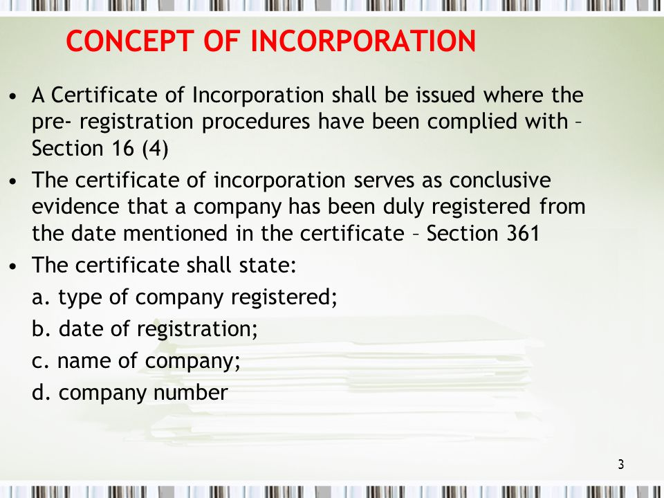 CONCEPT OF INCORPORATION