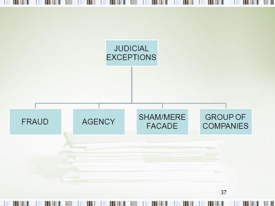 EXCEPTIONS JUDICIAL FRAUD AGENCY SHAM/MERE FACADE COMPANIES GROUP OF