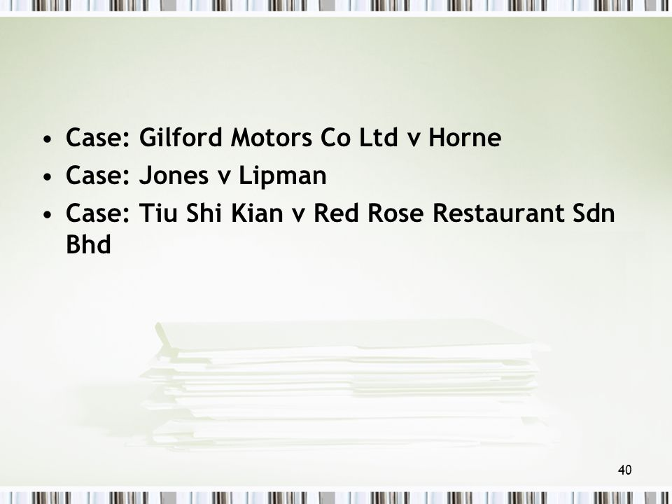 gilford motors vs horne 2017-10-16 case law: hendon vs adelman,  this principle can be seen in the prior discussed case of gilford motor co ltd vs horne[18] where it was held that the newfound company was mere cloak or sham,.