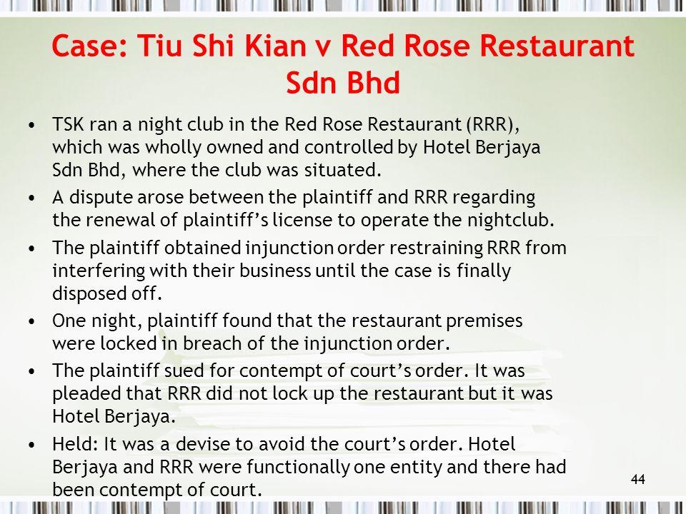 Case: Tiu Shi Kian v Red Rose Restaurant Sdn Bhd