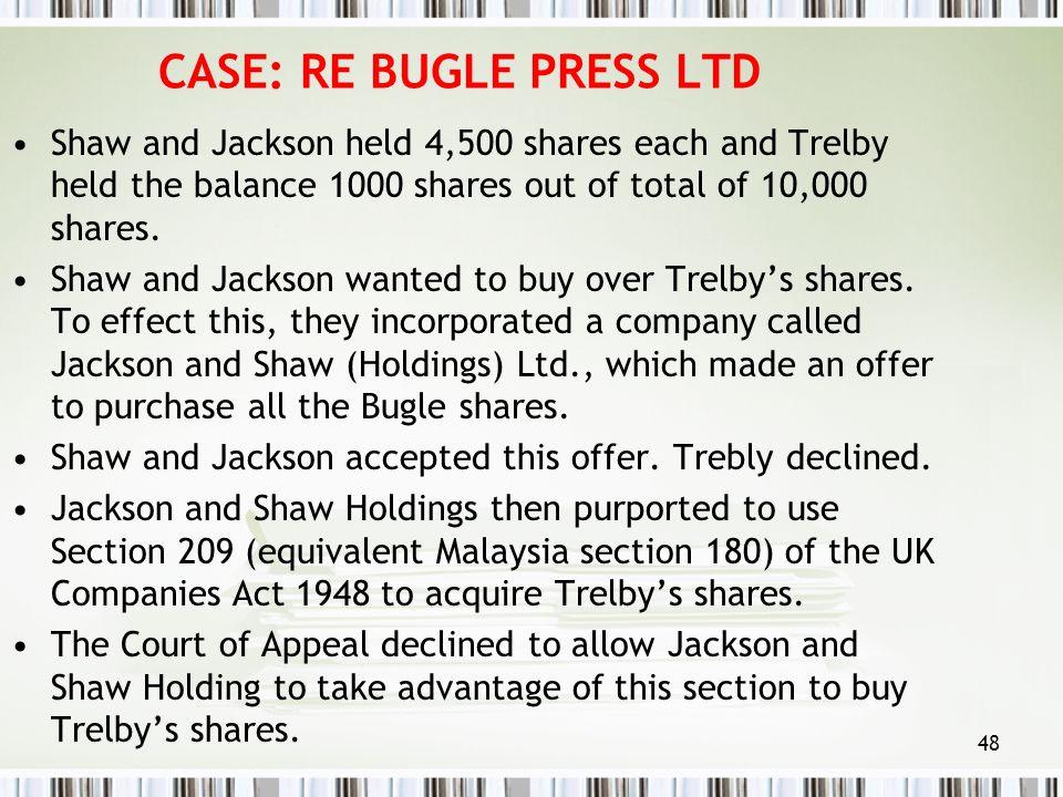 CASE: RE BUGLE PRESS LTD