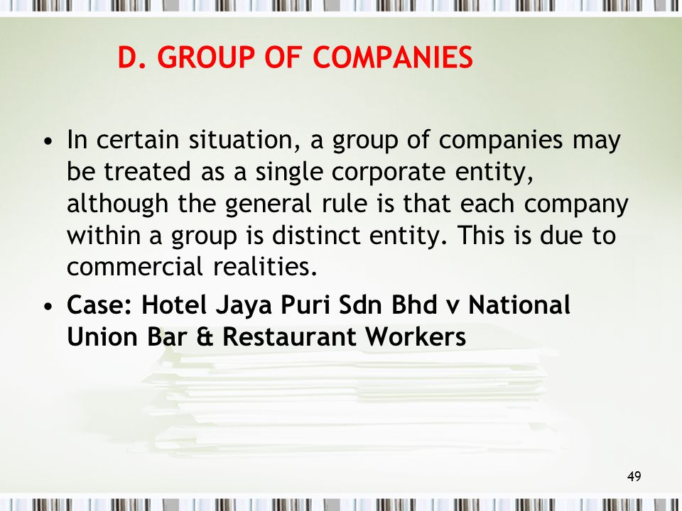 D. GROUP OF COMPANIES