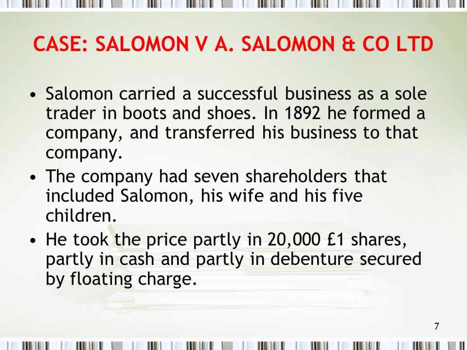 salomon v salomon co ltd Writepass - essay writing - dissertation topics [toc]abstractintroductionsalomon v salomon & co ltdcriticism against salomon's casepiercing of the corporate.
