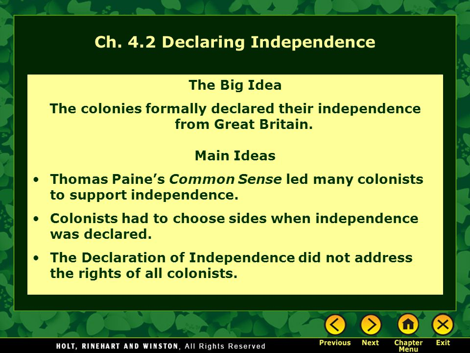 declaring independence questions