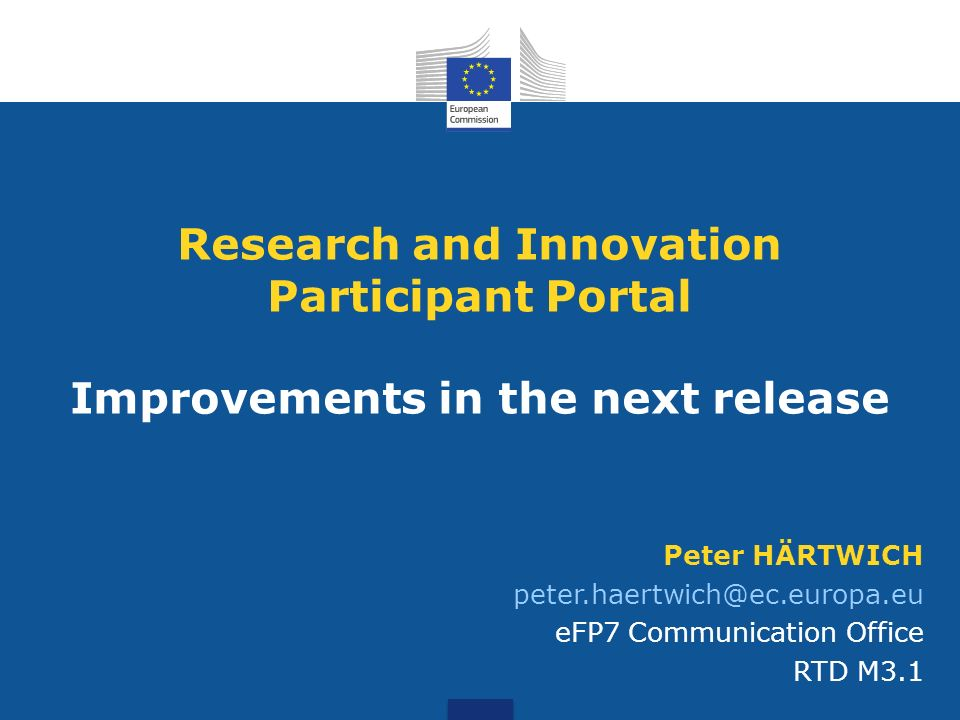 Research and Innovation Participant Portal Improvements in the next release