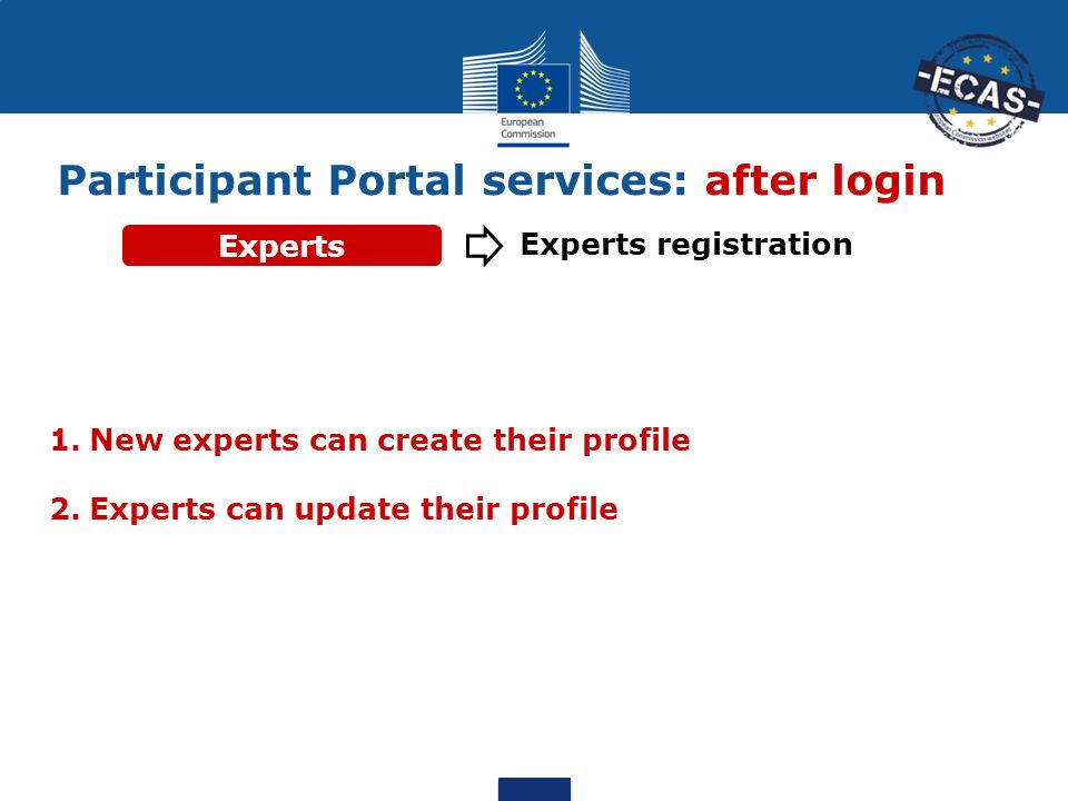 Participant Portal services: after login