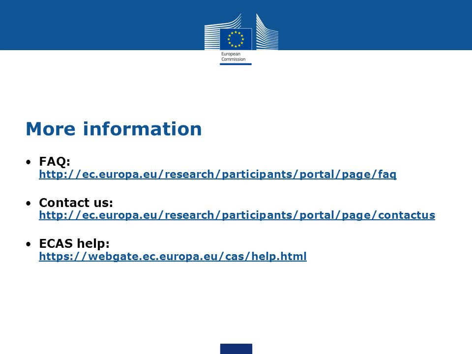 More information FAQ: http://ec.europa.eu/research/participants/portal/page/faq.
