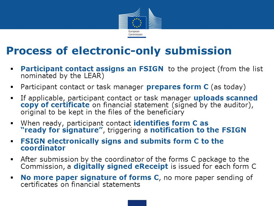 Process of electronic-only submission