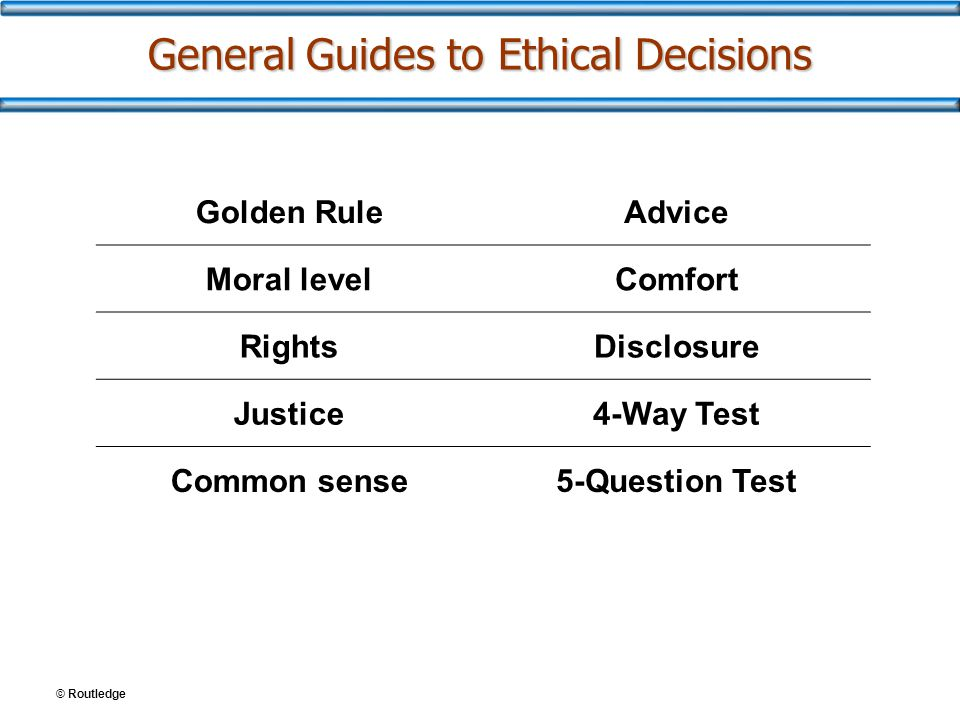 General Guides to Ethical Decisions