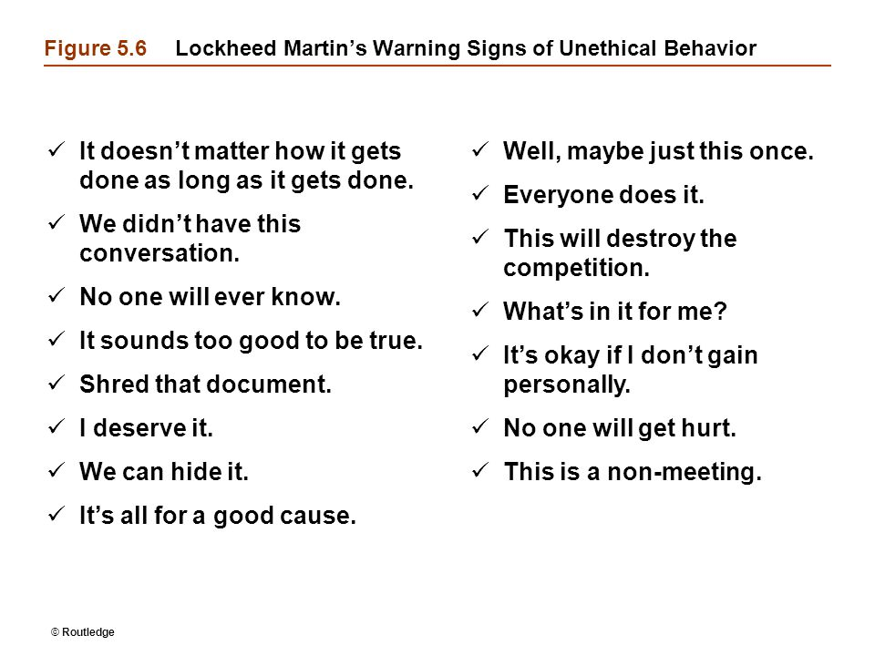 Figure 5.6 Lockheed Martin's Warning Signs of Unethical Behavior