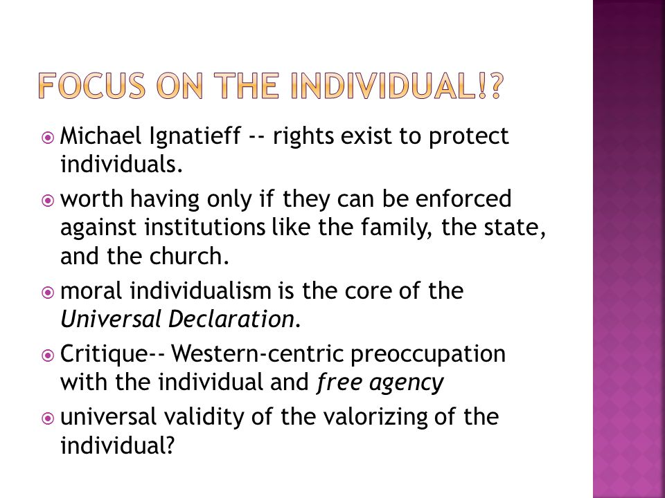 Focus on the individual!