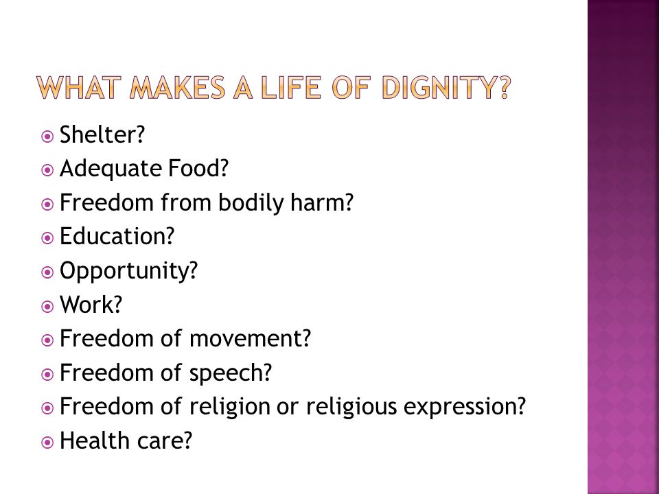 What makes a life of dignity