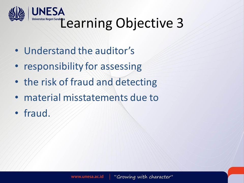 Learning Objective 3 Understand the auditor's
