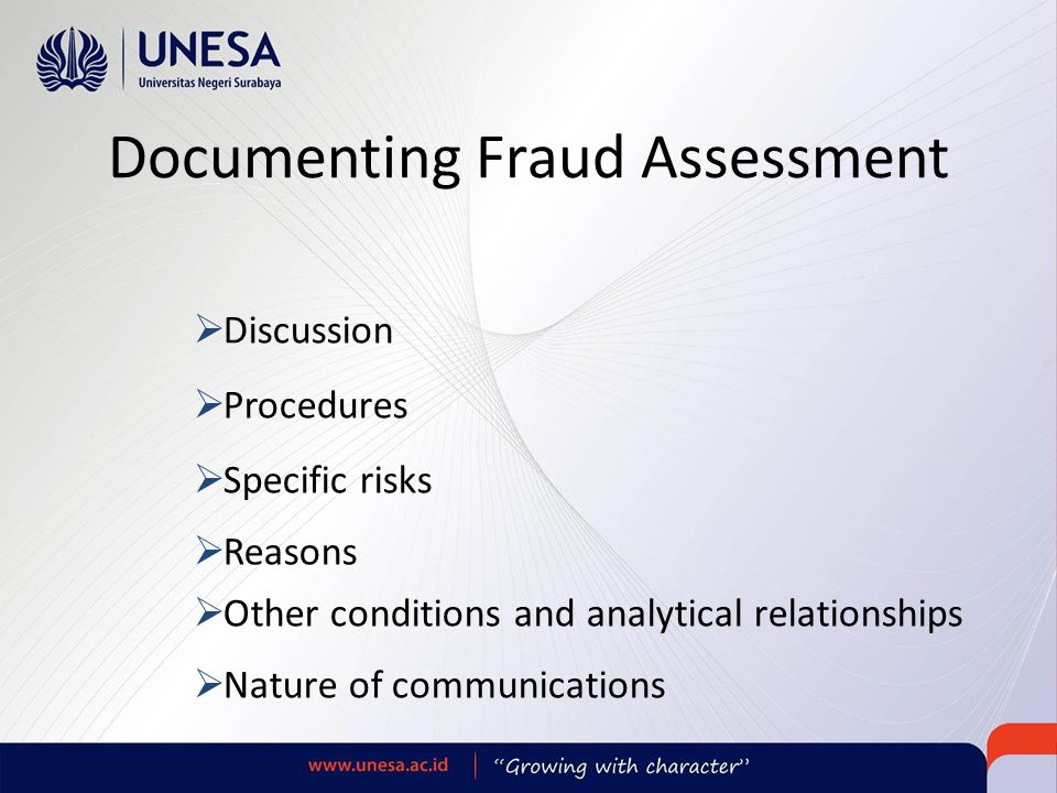 Documenting Fraud Assessment
