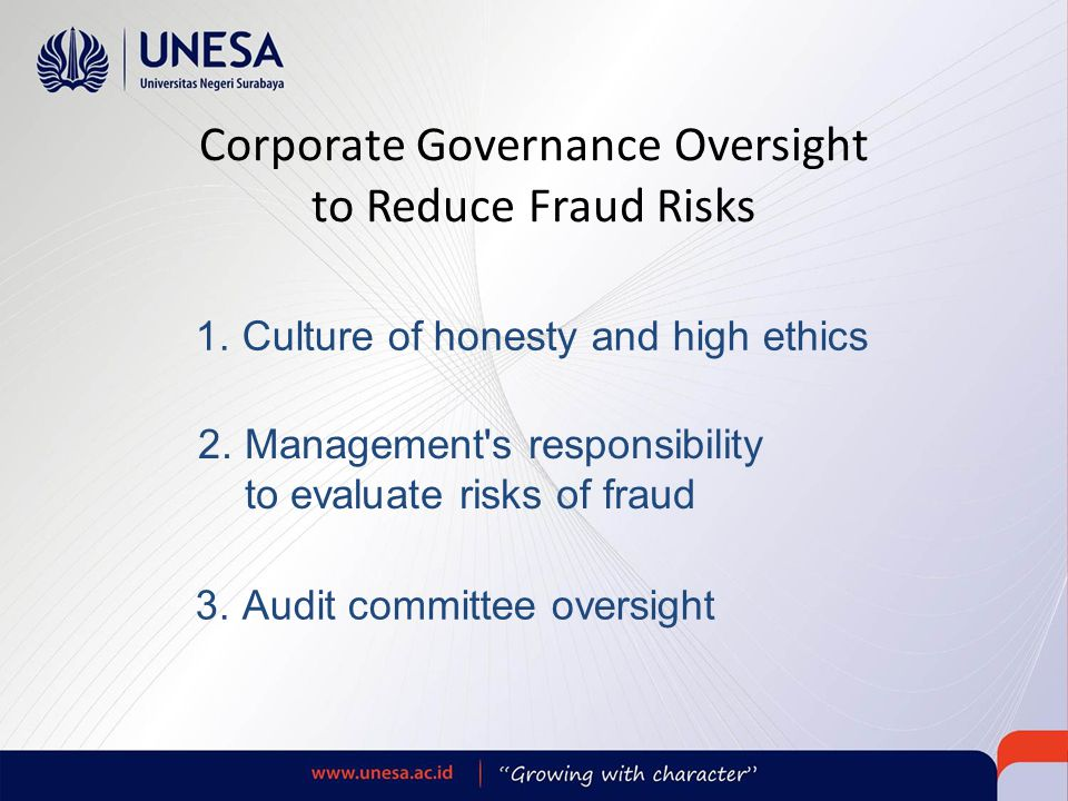 Corporate Governance Oversight to Reduce Fraud Risks