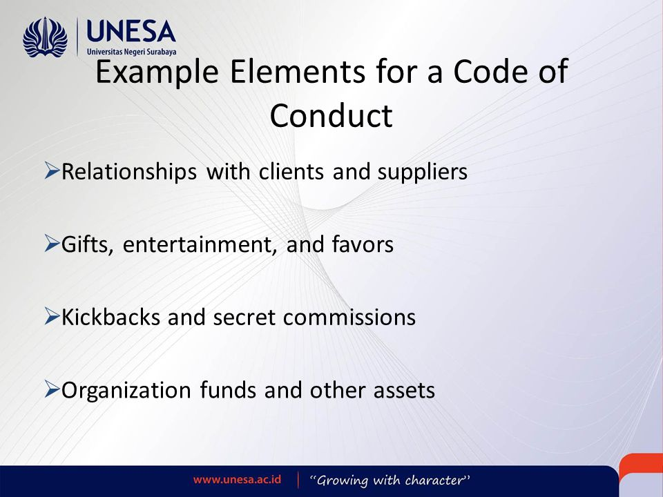 Example Elements for a Code of Conduct
