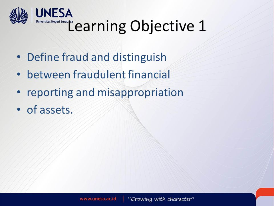 Learning Objective 1 Define fraud and distinguish