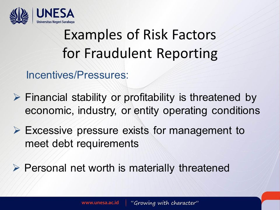 Examples of Risk Factors for Fraudulent Reporting
