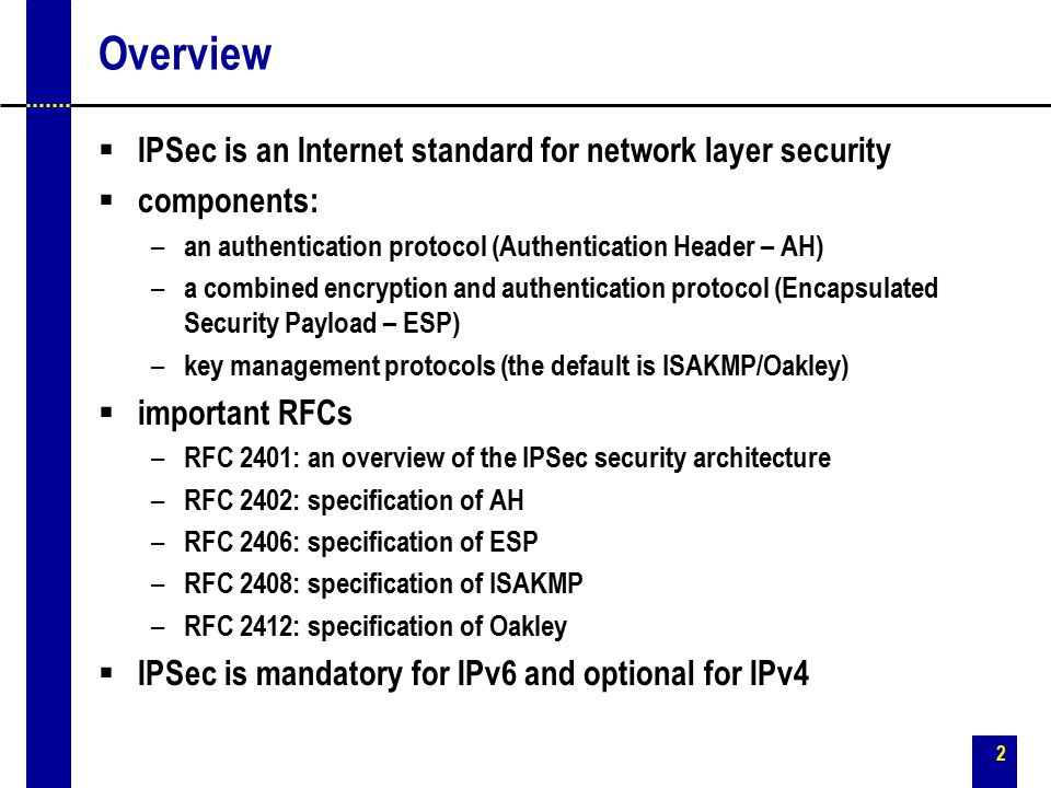 Overview IPSec is an Internet standard for network layer security