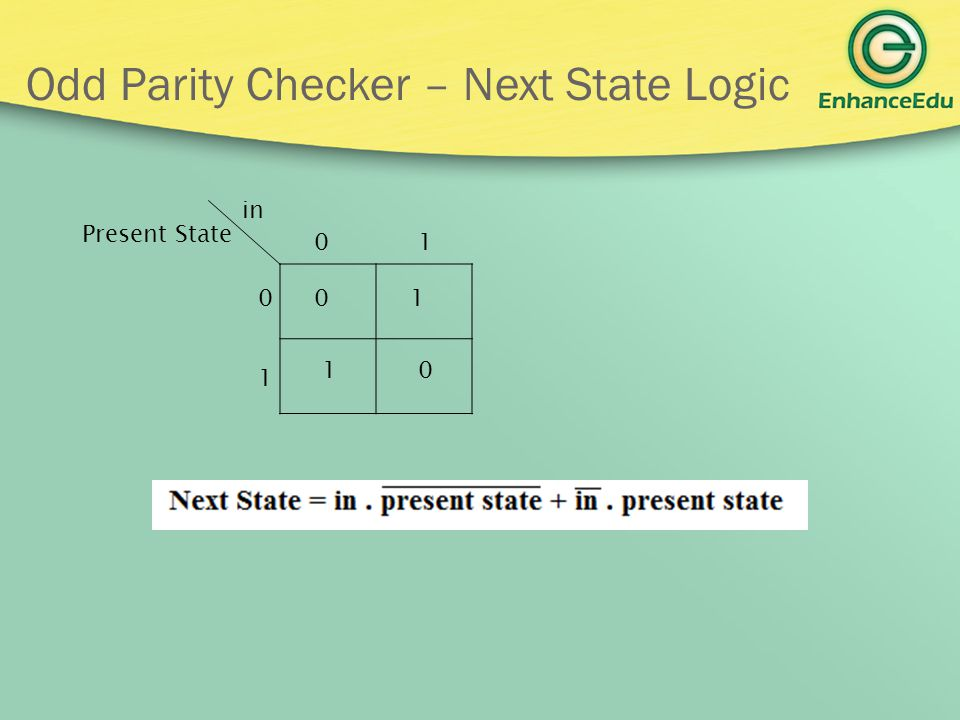 Odd Parity Checker – Next State Logic