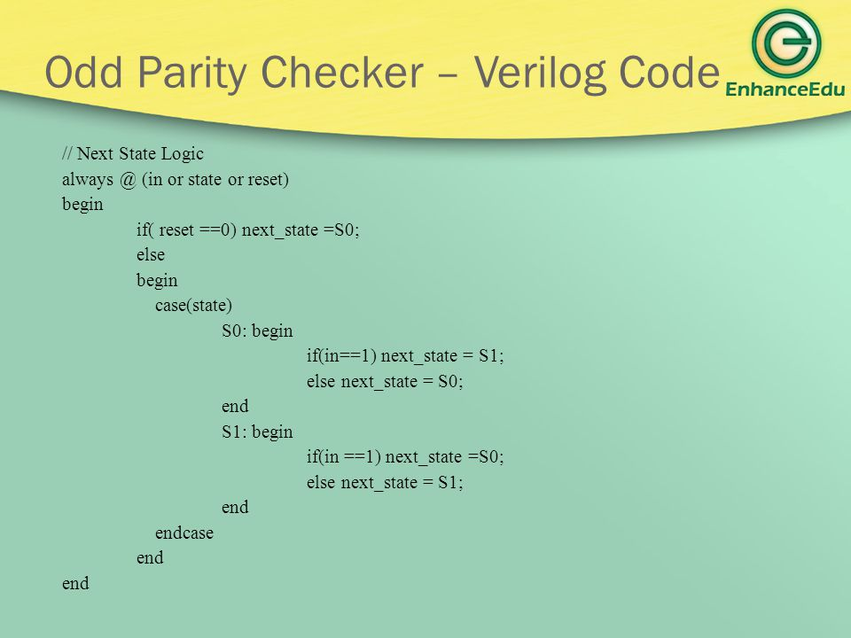 Odd Parity Checker – Verilog Code