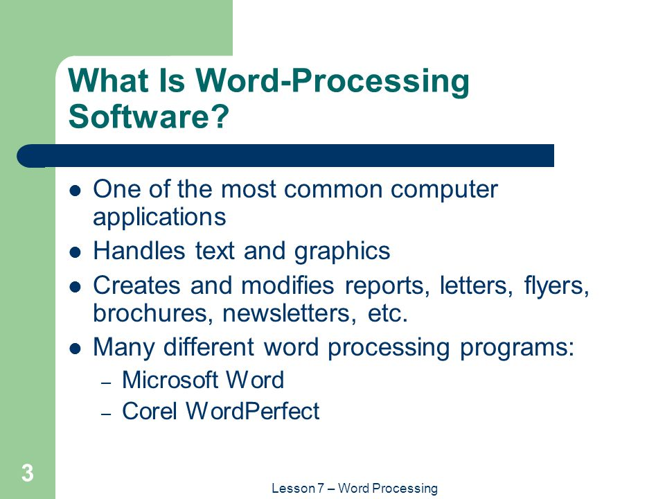 lesson 7 � word processing ppt video online download