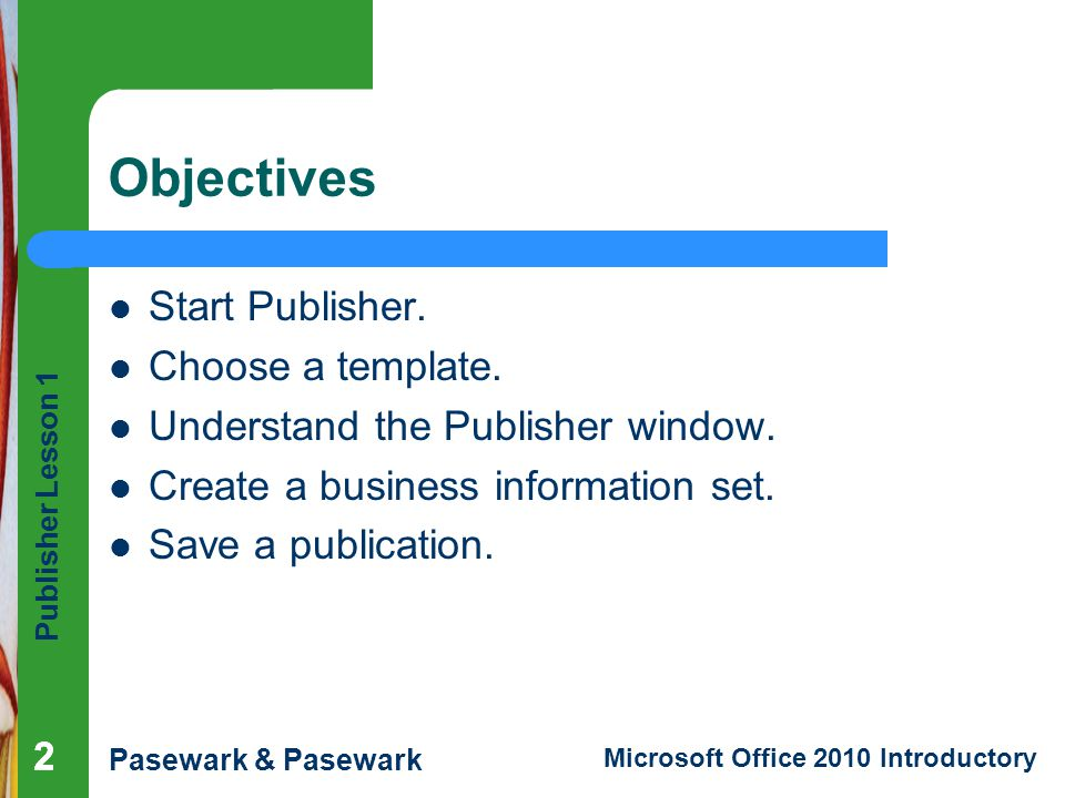 how to make a business information set publisher