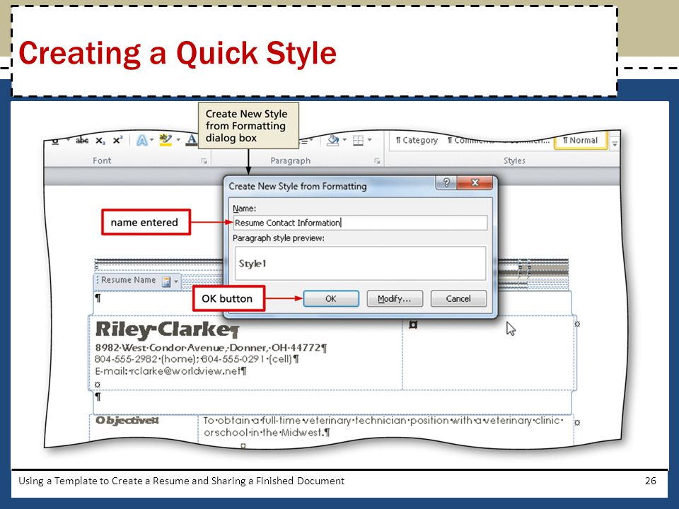26 Creating A Quick Style Using A Template To Create A Resume And Sharing A  Finished Document
