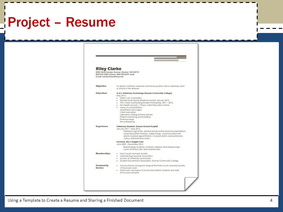 4 Project U2013 Resume Using A Template To Create A Resume And Sharing A  Finished Document