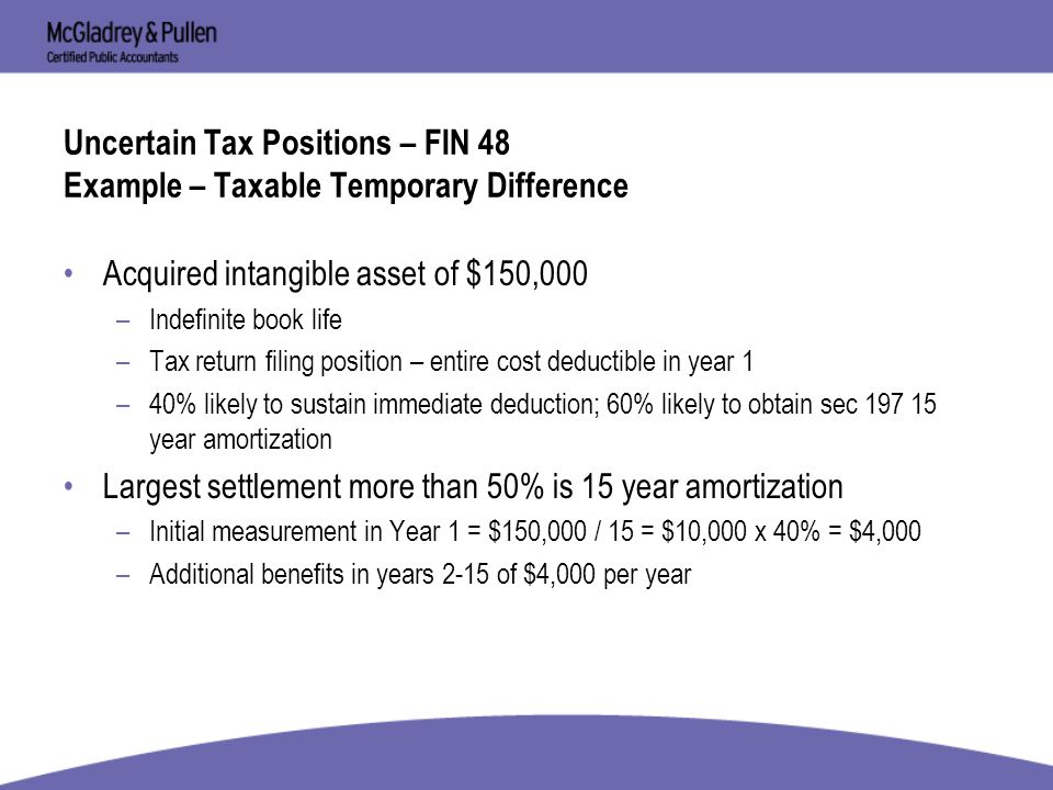 197 intangible assets fin 48 accounting for uncertainty in tax ppt
