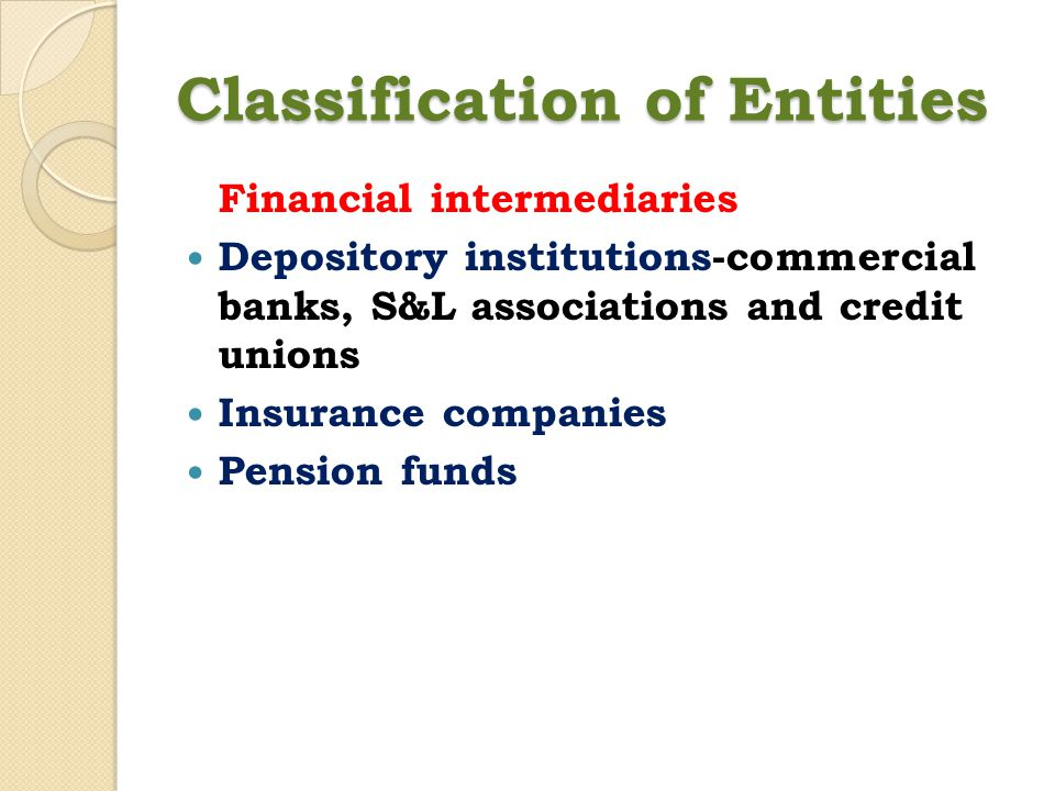 Classification of Entities