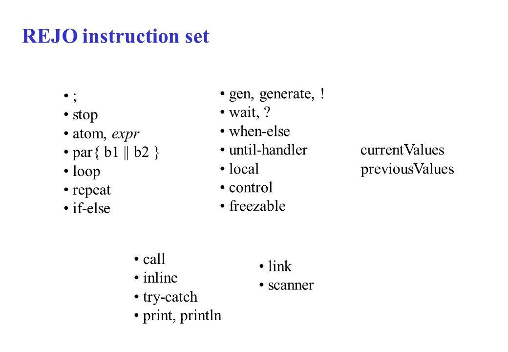 REJO instruction set gen, generate, ! ; wait, stop when-else