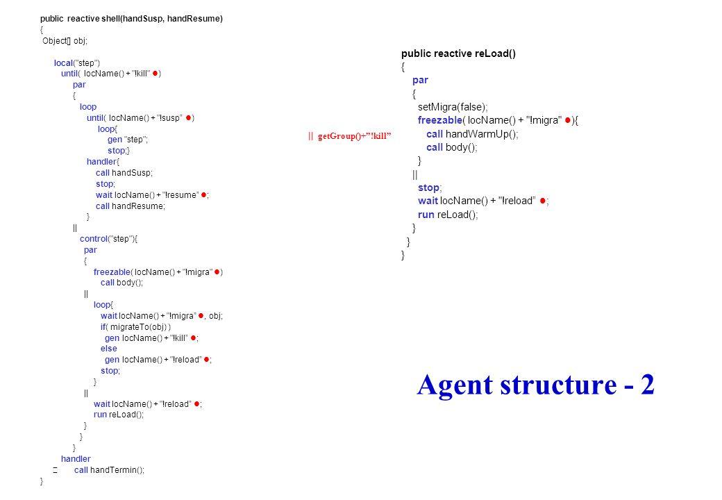 Agent structure - 2 public reactive reLoad() { par setMigra(false);