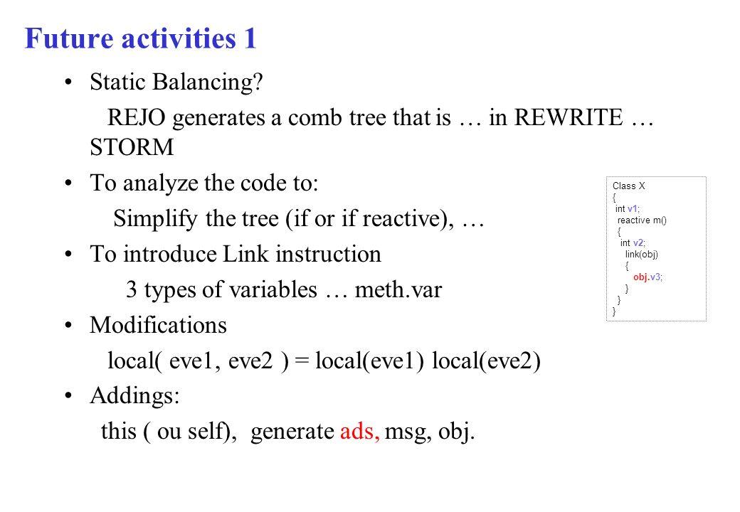 Future activities 1 Static Balancing