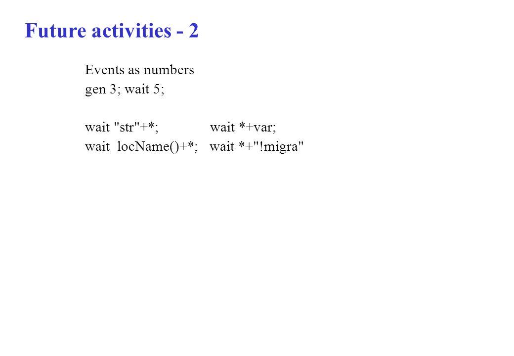 Future activities - 2 Events as numbers gen 3; wait 5;