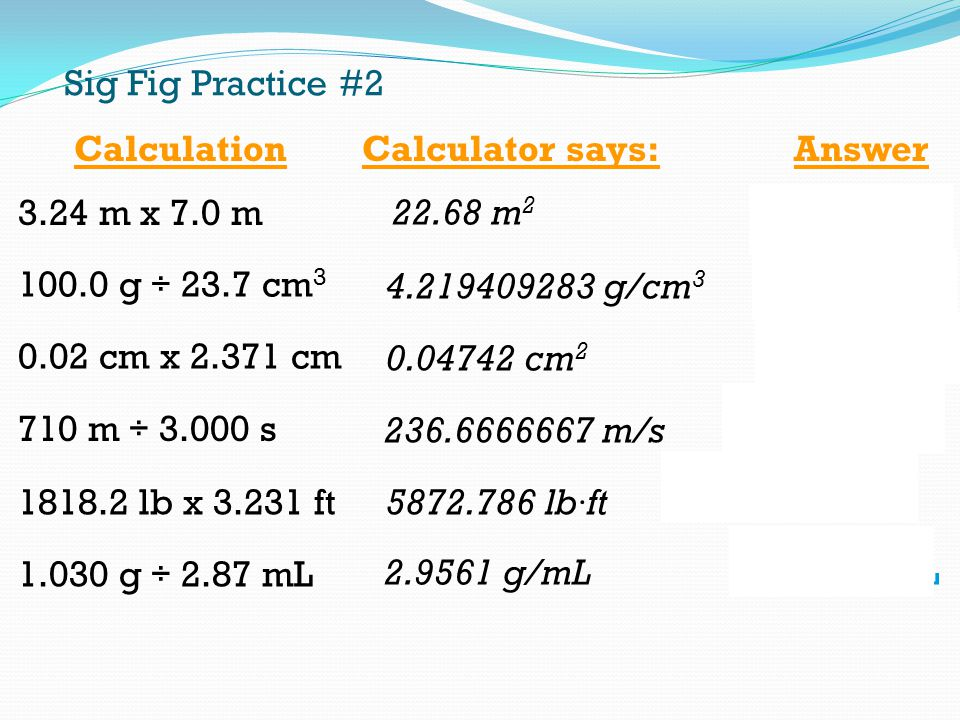 Sig Fig Practice #2 Calculation. Calculator says: Answer m x 7.0 m m2. 23 m g ÷ 23.7 cm3.