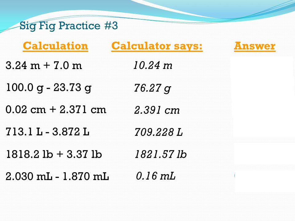 Sig Fig Practice #3 Calculation. Calculator says: Answer m m m m g g.