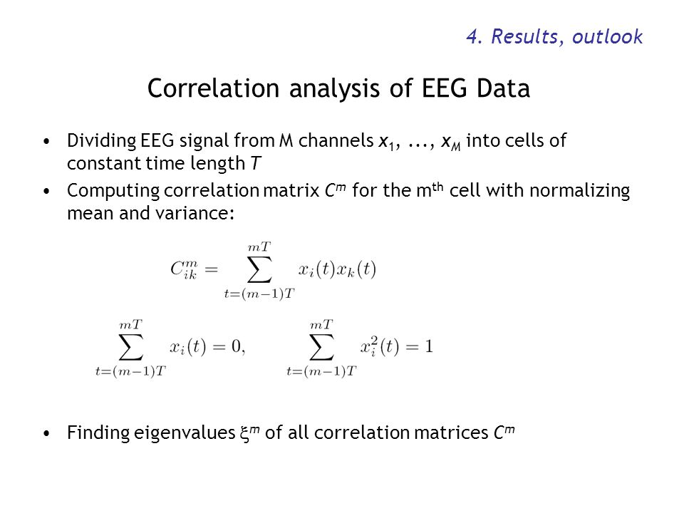 Correlation analysis of EEG Data