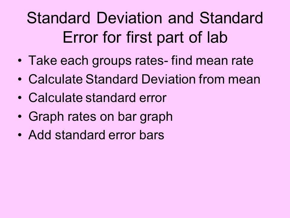 Standard Deviation and Standard Error for first part of lab