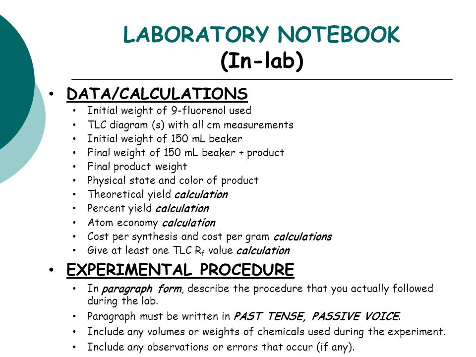 LABORATORY NOTEBOOK (In-lab)