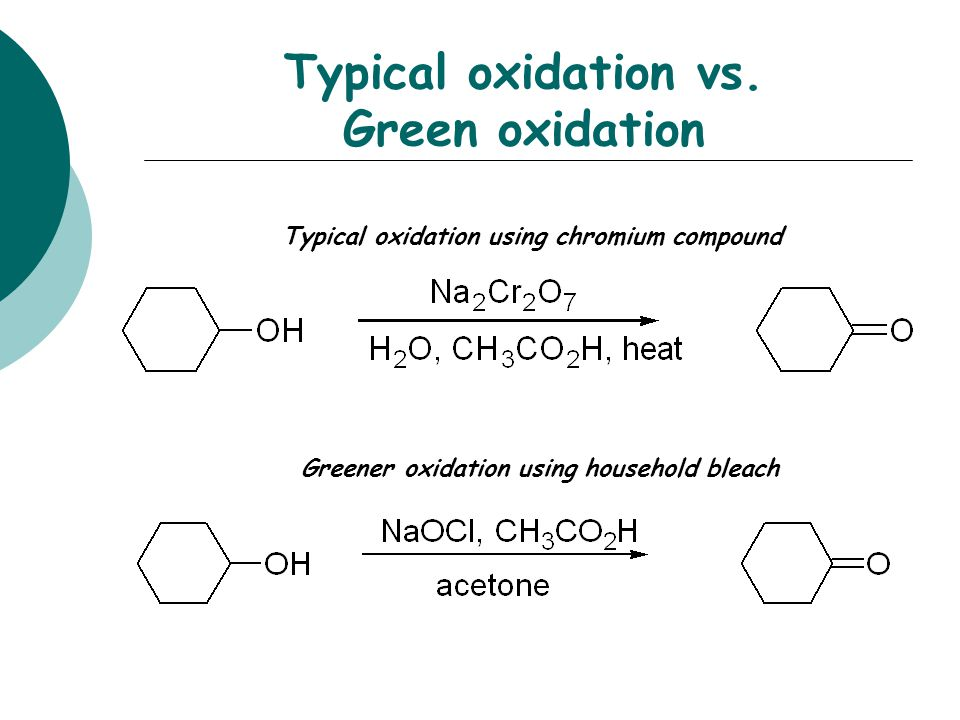 Typical oxidation vs. Green oxidation